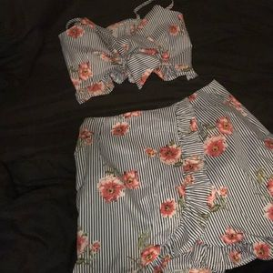 Two piece top and skirt.